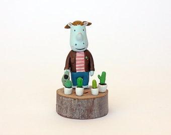 Rino cactus handmade figurine