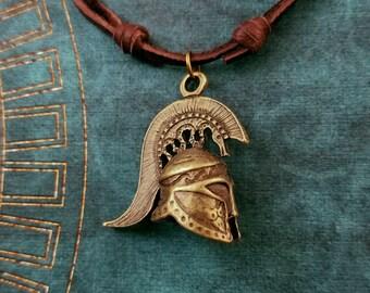 Spartan Necklace Sparta Jewelry Spartan Helmet Necklace Charm Necklace Leather Necklace Brown Cord Necklace Men's Jewelry Boyfriend Necklace