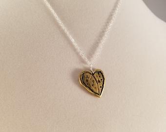 Lunar Landscape Heart pendant, Brass