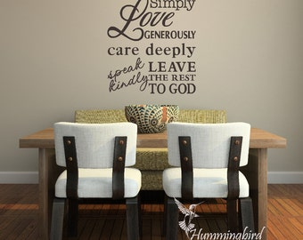 Live Simply ... Vinyl Wall Decal, Vinyl Wall Sticker, Wall Art, Wall Words, Wall Lettering