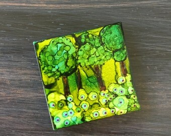Nature's Trees Refrigerator Magnet, Ceramic Tile, Alcohol Ink, Handcrafted