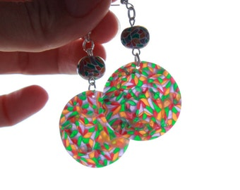 Round earrings multicolor mosaic ring polymer clay handmade set  jewelry stained-glass long earrings mosaic jewelry ring stained-glass
