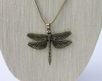 Golden Dragonfly Long Cord Necklace