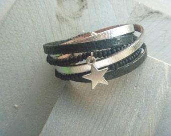 Black/silver wrapbracelet with a star
