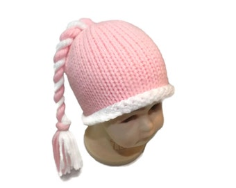 Baby girl knitted elf hat with tassel. Pink and white. Photo prop.