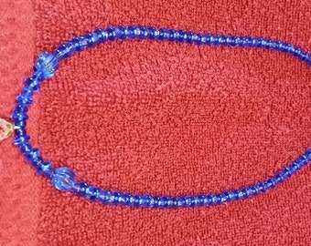 "Handcrafted, Artisan Jewelry Beaded Necklace, Crystal Blue Persuasion, 18"" Long"