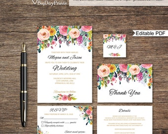 Floral Wedding Invitation Printable, Wedding Invitation Template, Wedding Invitation Set, #A001A, Editable PDF - you personalize at home.