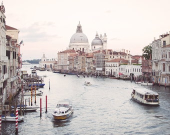 Venice Print, Venice Grand Canal at Sunset, Pink Wall Decor, Venice Photograph