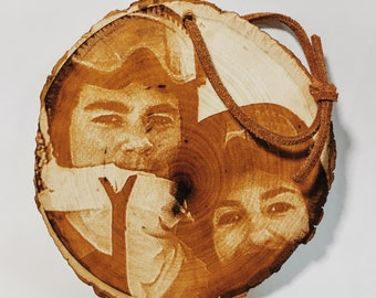 Photo Engraved Wooden Tree Slice Ornament, Valentine's Day Photo Engraving