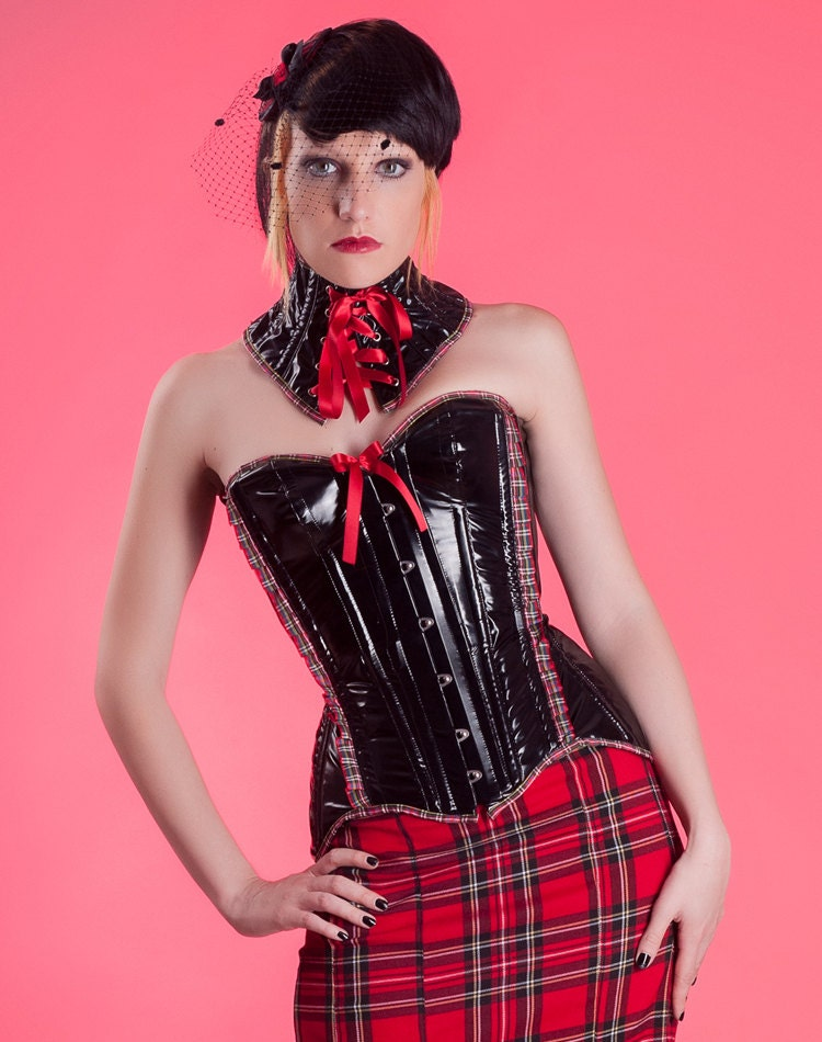 Black red overbust corset...