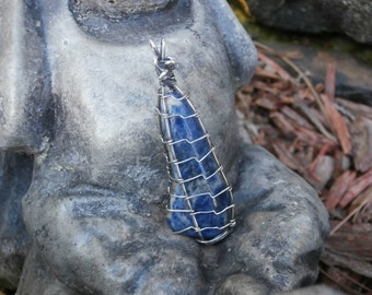 SODALITE, Sterling Silver Wrapped Sodalite Nugget Pendant, Blue Stone Pendant, Wire Wrapped Pendant, OOAK Artisan Jewelry