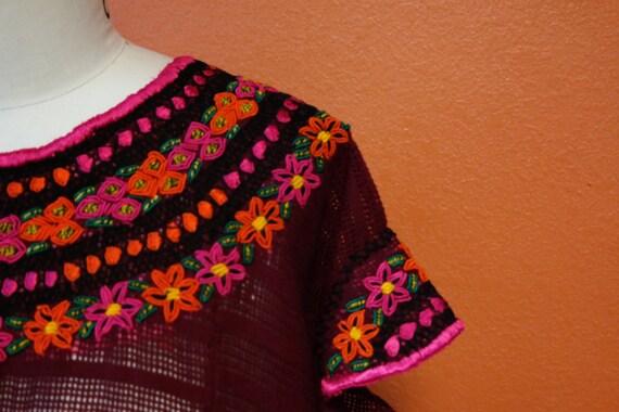 Veronica Prida Hand Embroidered Garnet Guatemalan Blouse
