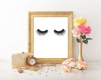 Eyelash print, makeup print, fashion print, mascara art print, lashes art, lashes illustration, beauty print, lashes poster, vanity decor