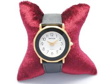 Watch BENSON - black gold watch - watch glass facet