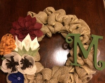 Burlap and Felt Fall Wreath