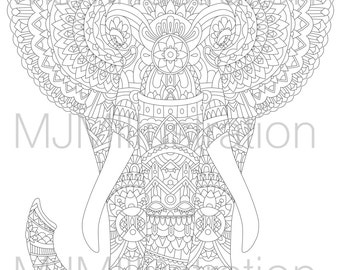 Decorative Elephant Instant download printable adult colouring page