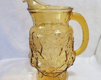 Vintage Libbey Daisy Pitcher, Amber Glass