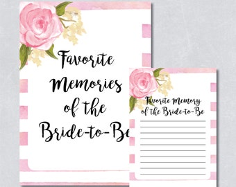 Favorite memories of the bride to be / Bridal shower games / Blush floral / Watercolor / DIY Printable / INSTANT DOWNLOAD