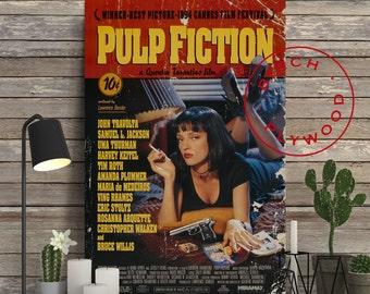 PULP FICTION - Poster on Wood, Pulp Fiction Poster, Quentin Tarantino, John Travolta, Samuel L Jackson, Uma Thurman, Bruce Willis