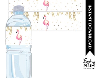 Flamingo Water Bottle Label / Flamingo Napkin Rings / Flamingo Playdoh Label / Pink Gold Water Bottle Label / Bird / *DIY Printable FG02