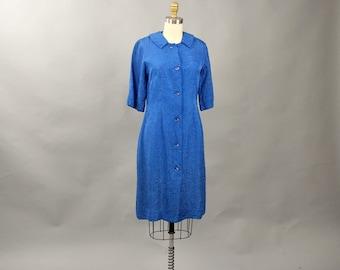 SALE vintage blue jacquard dress . 60s blue sheath dress . womens dress size small medium 1960s dress . vintage wiggle dress