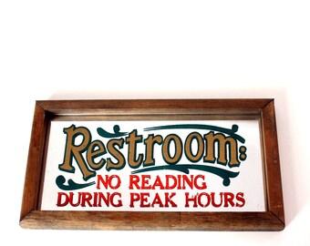 1970s bathroom mirror . Restroom : No reading During Peak Hours . vintage gag gift . 70s saloon style mirror