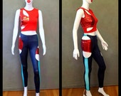 MADE TO ORDER Red Spandex and Metallic Cut Out top and Navy Spandex Cut Out Leggings with Turquoise Mesh Strip and Red Metallic Inserts