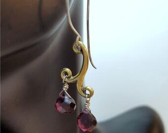 Garnet Gemstone Earrings, Garnet Teardrop,  Gold Plated Melody Swirl, Faceted Gemstone Earrings, Gifts For Her, January Birthstone Jewelry