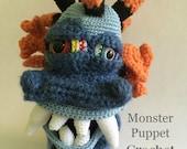 Monster Puppet Crochet Pattern, Pretend Play Crochet Pattern
