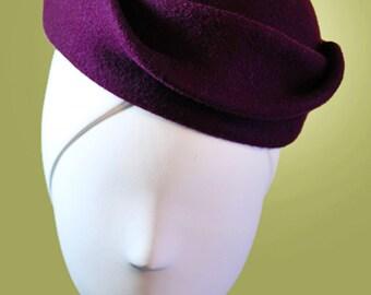 Dark Plum - Purple - Sculpted Women's Wool Hat OOAK Boho - Vintage Inspired - 1940s Hat