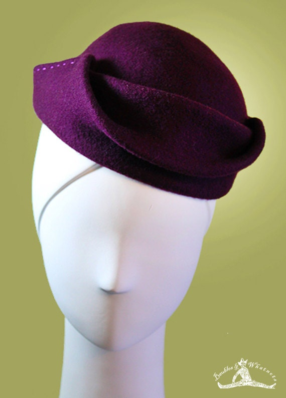 Dark Plum - Purple - Sculpted Women's Wool Hat OOAK Boho - Vintage Inspired - 1940s Hat