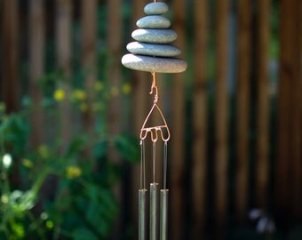 Wind Chime Natural Beach Stones windchime windchimes Zen Garden