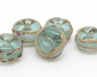 Handmade lamp work beads. Aged green and raku glass beads. MADE TO ORDER