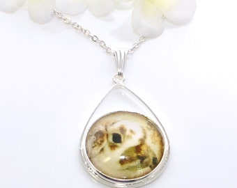White Brown Lop Rabbit Bunny Necklace Wally - Bunny Jewelry - Rabbit Necklace