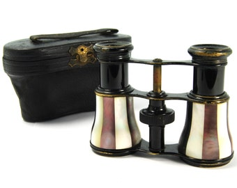 Antique Victorian Opera Glasses WEISS Beautifully Striped Two Toned Mother of Pearl and Ebonized Brass in Blue Case Steampunk Circa 1900