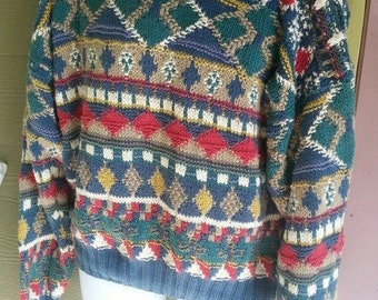 Vintage 80s Abstract Graphic Boston Traders Handknitted Cosby Sweater Mens Size Medium