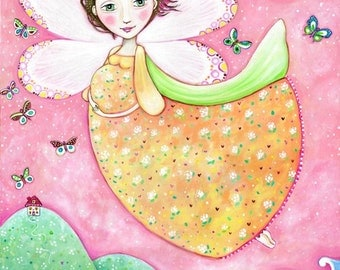 Childrens wall art Flying butterfly girl art print Pregnancy art girls room art Gift for Pregnant Woman Art nursery wall decor whimsical