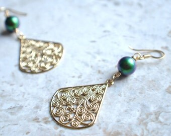 The Florence- Green and Purple Pearl and Gold Filigree Earrings