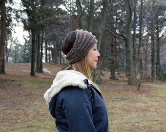 Taupe Brown Knit Vegan Headband - Panta Finnish Headband - Ear Warmers - Boho Headband - Winter Hair Accessory - Womens Gift - Gift for Her