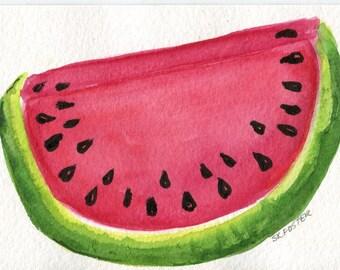 Watermelon watercolor painting, watercolor art 4 x 6 original painting watermelon illustration, kitchen art decor, illustration