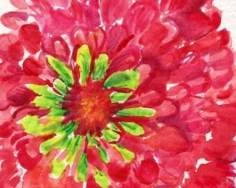 Zinnia watercolor  painting - Red Zinnia watercolor painting original 4 x 6 small flower art, red zinnia wall art