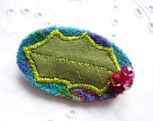 Scottish Holly Pin ~ Harris Tweed, Silk & Swarovski Crystals