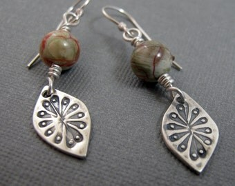 Ocean Jasper Dangle Earrings with Native American Flower - Sterling Silver and Jasper - Green Red