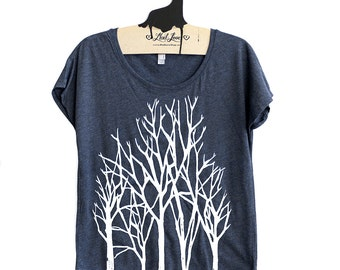 Small-  Tri-Blend Navy Dolman Tee with Branch Trees Screen Print