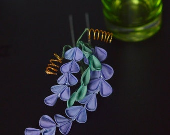 Lilac Wisteria Kanzashi. Real silk hairpin in pastel. Custom hand dyed flowers. Made to Order.