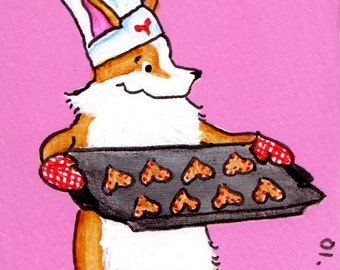 "PEMBROKE WELSH CORGI  Art Print Corgi Valentines Baking Chef  Art Print ""Valentine's Cookies""  Dog Art ~ Dog Lovers Gift ~ Dog Art Print"