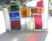 Square Root Rainbow Colored Triangle Shaped Stained Glass Candle Holder Geometry theme