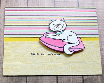 You're the Cat's Meow Greeting, Note Card, Birthday, Special Occasion, BFF, Congratulations, Graduation, Fun, Happy - 5.5 inches by 4 inches