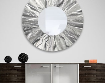 "Silver Modern Metal Wall Mirror, Huge Abstract Round Home Decor, Contemporary Hanging Metal Wall Art -  Mirror 105 XXL 40"" by Jon Allen"
