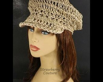 Crochet Hat Sun Hat,  Hemp Hat,  Womens Hat Trendy,  Annie Summer Hat Newsboy Hat,  Natural Hat